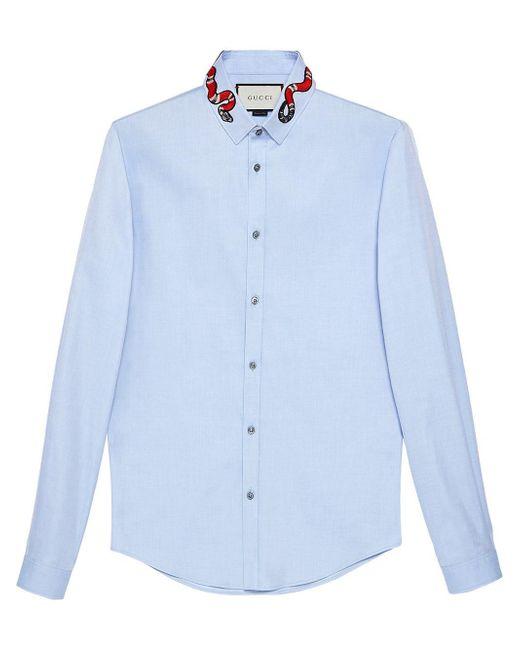 Gucci - Blue 'Oxford Duke' Hemd mit Schlangen-Patch for Men - Lyst