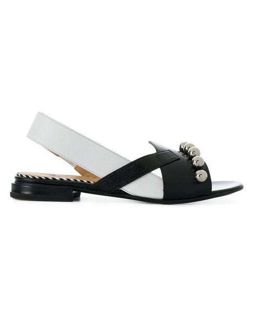 Toga Pulla - Black Asymmetric Sling-back Sandals - Lyst