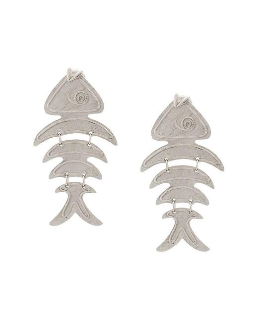 Oscar de la Renta - Metallic Fish Short Earrings - Lyst