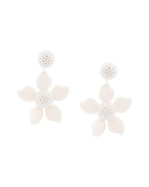 Oscar de la Renta - White Bold Flower Earrings - Lyst