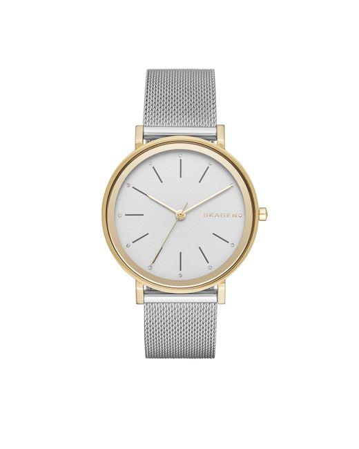 Skagen - Metallic 'hald' Round Mesh Strap Watch - Lyst