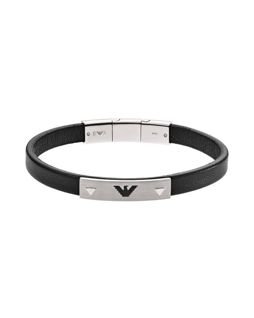 Emporio Armani - Multicolor Leather Logo Bracelet Silber - Lyst