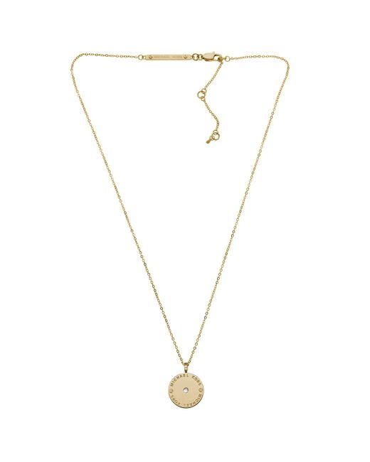 Michael Kors | Metallic Heritage Logo Disc Necklace Gold-tone | Lyst