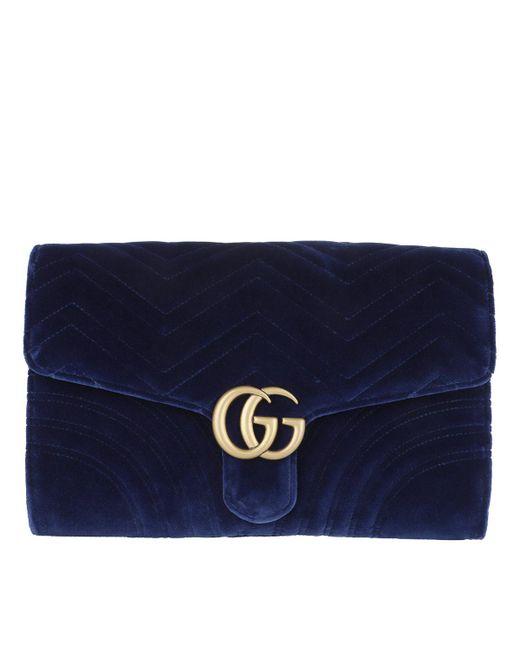 641c70df0e6 Gucci - Blue GG Marmont Velvet Clutch Cobalt - Lyst ...