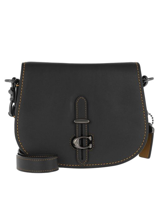 COACH Glovetan Leather Crossbody Bag Black in Black - Lyst 887e569cbb467