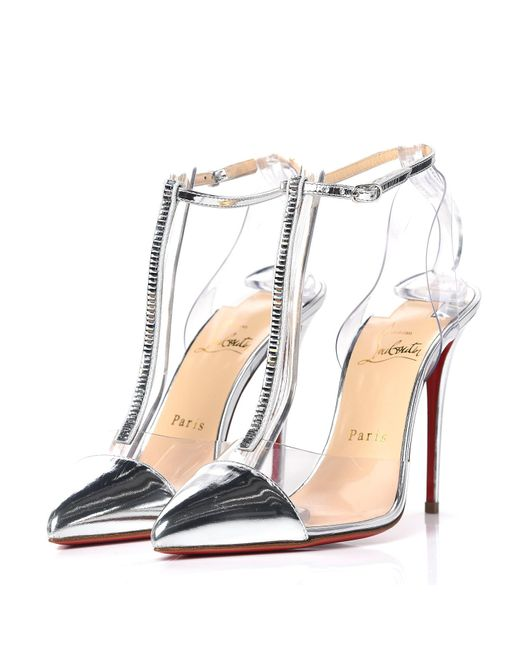Christian Louboutin Leather Kid Pvc Nosy Strass 100 Pumps 37