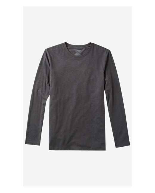 Express | Gray Heathered Long Sleeve Flex Stretch Tee for Men | Lyst