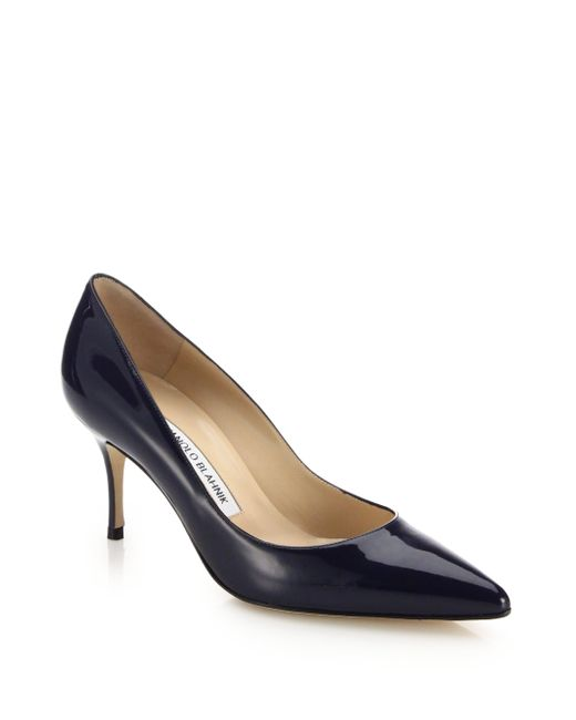 Manolo Blahnik | Blue Scoop Patent Leather Pumps | Lyst