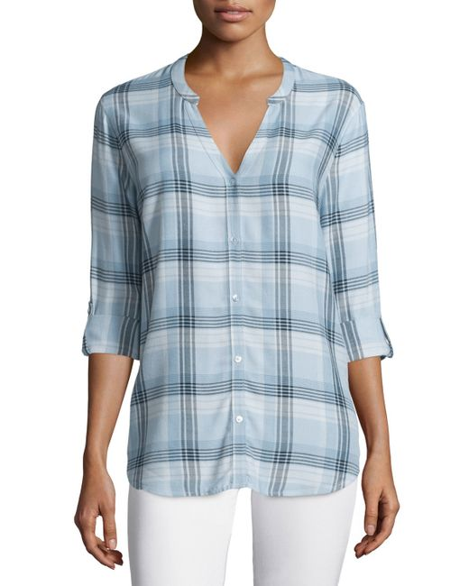 Soft joie dane long sleeve plaid top in blue seaglass lyst for Soft joie plaid shirt