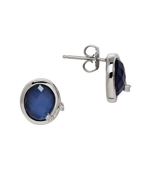 Lord & Taylor | Metallic Quartz, Diamond And Sterling Silver Stud Earrings | Lyst