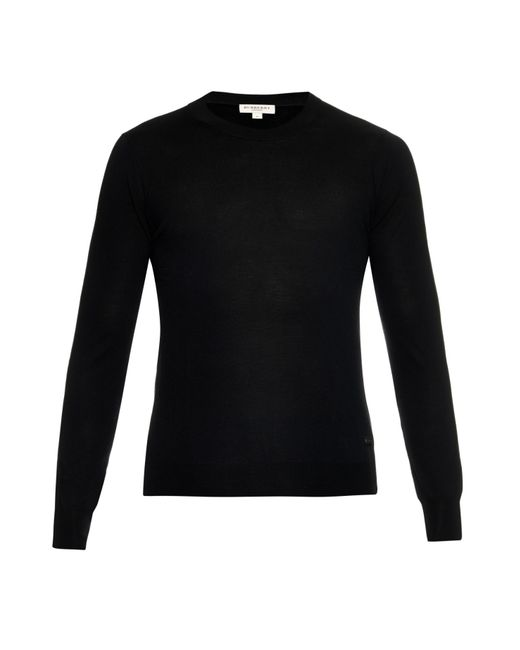 Burberry Crew-neck Merino-wool Knit Sweater in Black for ...