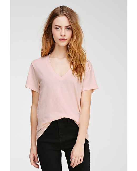 Forever 21 | Pink Heathered V-neck Tee | Lyst