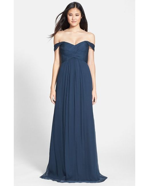 Amsale | Blue Convertible Crinkled Silk Chiffon Gown | Lyst