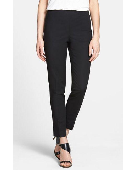 Vince Camuto | Black Side Zip Double Weave Stretch Cotton Pants | Lyst
