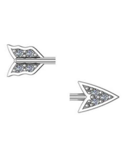 Adornia | Metallic Sterling Silver And Diamond Broken Arrow Earrings | Lyst
