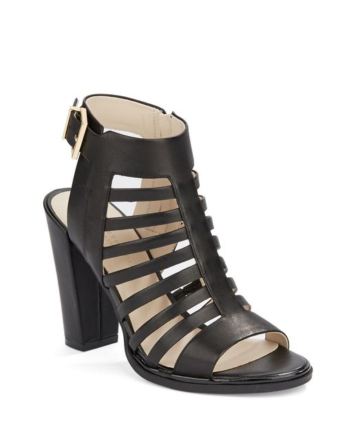 Kenneth Cole | Black Skylar Leather Cage Sandals | Lyst