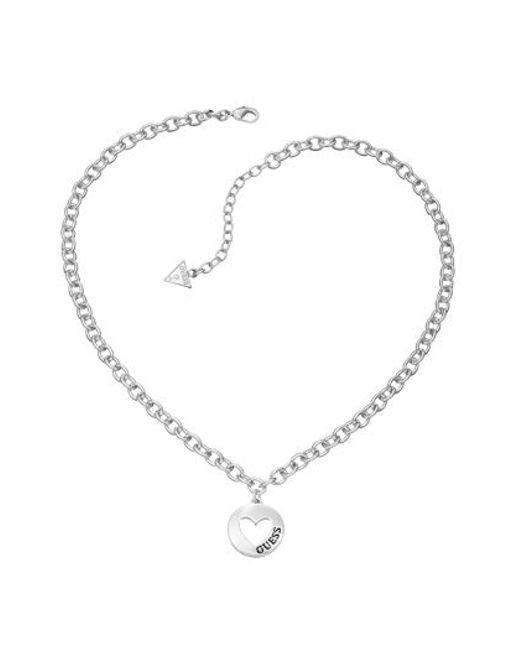 Guess   Metallic Rhodium Pendant Necklace   Lyst
