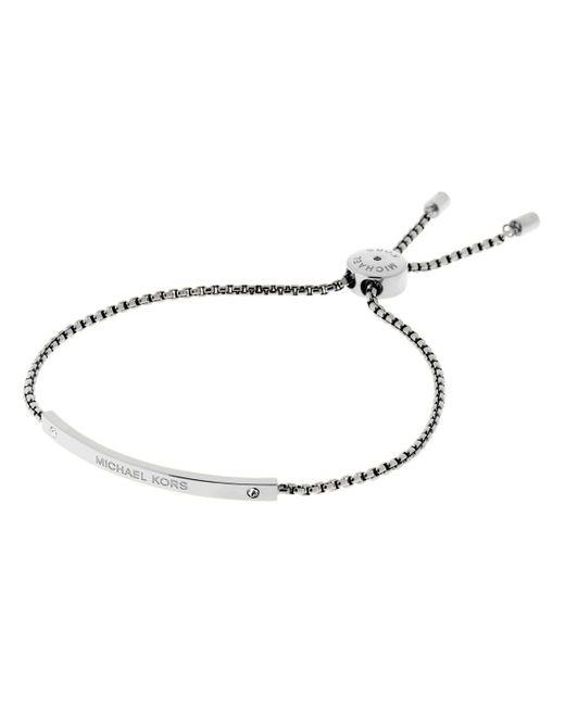 Michael Kors | Silver Etched Logo Slider Bracelet | Lyst