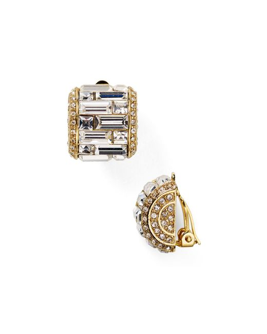 Carolee | Metallic Crystal Baguette Huggie Clip On Earrings | Lyst