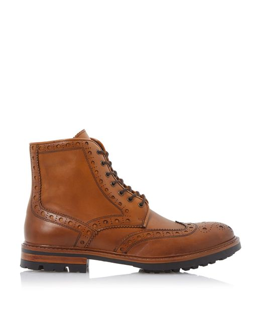 bertie cyrus leather lace up brogue boots in brown for