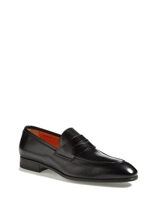 Santoni | Black 'will' Penny Loafer for Men | Lyst