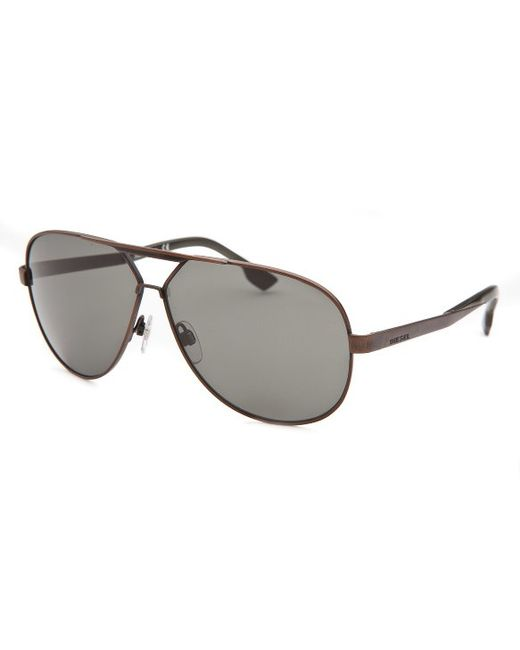 Diesel Mens Aviator Bronze-tone Sunglasses in Gold for ...