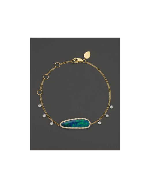 Meira T | 14k Yellow Gold Oval Blue Opal And Diamond Bracelet | Lyst