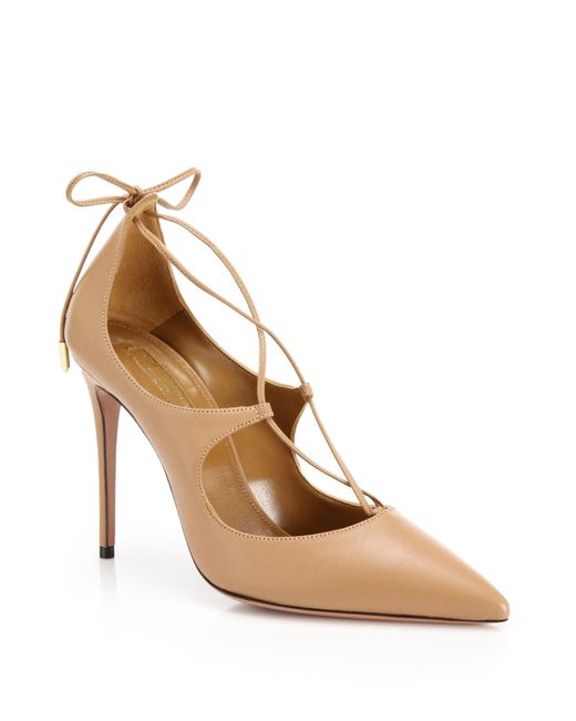 Aquazzura | Natural Christy Lace-up Point-toe Pumps | Lyst