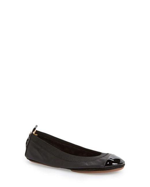 Yosi Samra | Black 'samantha' Foldable Ballet Flat | Lyst