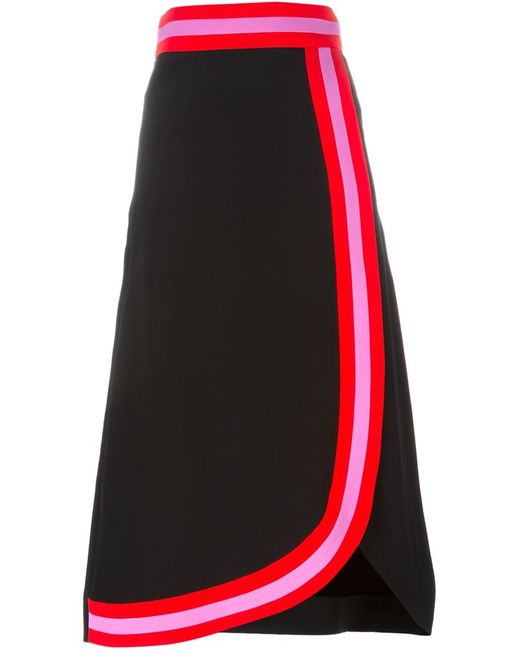 Roksanda | Black Contrast Detail Midi Skirt | Lyst