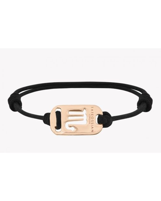 Tateossian | Zodiac 18k Yellow Gold Scorpio Black Waxed Cord Bracelet for Men | Lyst