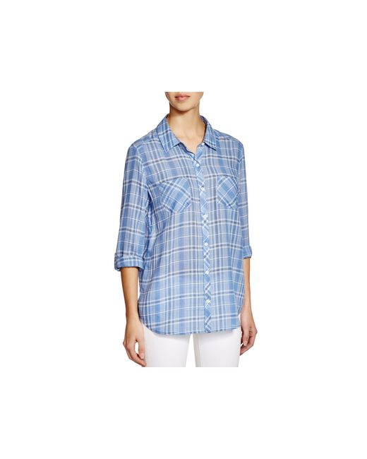 Soft joie sequoia plaid shirt in blue colony blue lyst for Soft joie plaid shirt