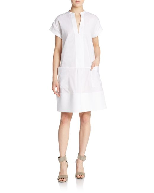VINCE | White Drop-waist Shift Dress | Lyst