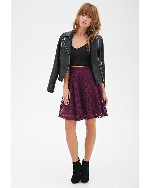 Forever 21 | Purple Floral Lace A-line Skirt | Lyst