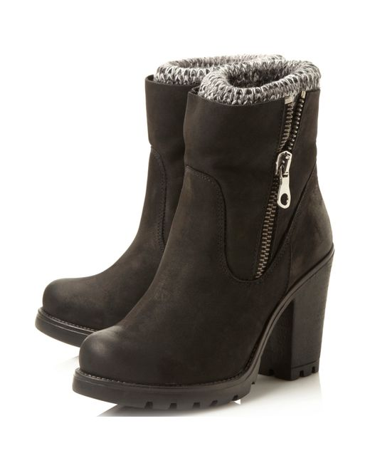 steve madden sweater knitted cuff detail ankle boots in