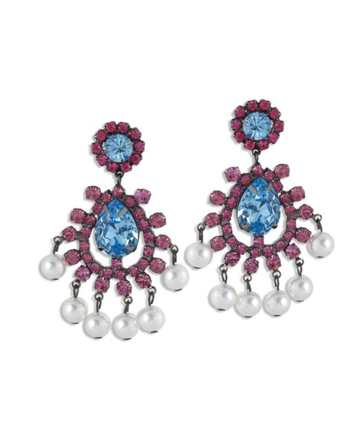 Kenneth Jay Lane | Blue Aquamarine And Pink Clip Earring | Lyst