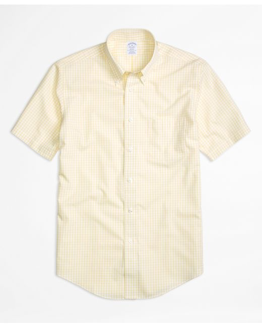Brooks brothers non iron regent fit short sleeve gingham for Mens yellow gingham shirt