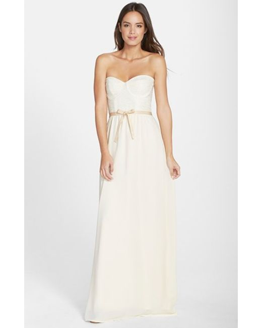 Paper Crown | Natural By Lauren Conrad 'hannah' Lace Bodice Crepe Gown | Lyst