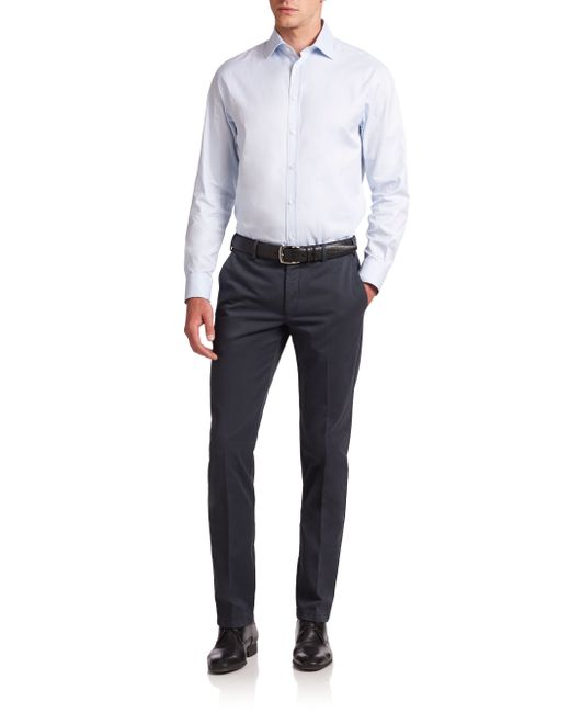 Armani | Blue Cotton Chino Pants for Men | Lyst