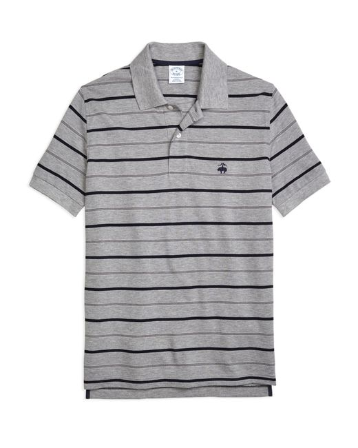 Brooks Brothers   Gray Slim Fit Undercollar Detail Stripe Polo Shirt for Men   Lyst