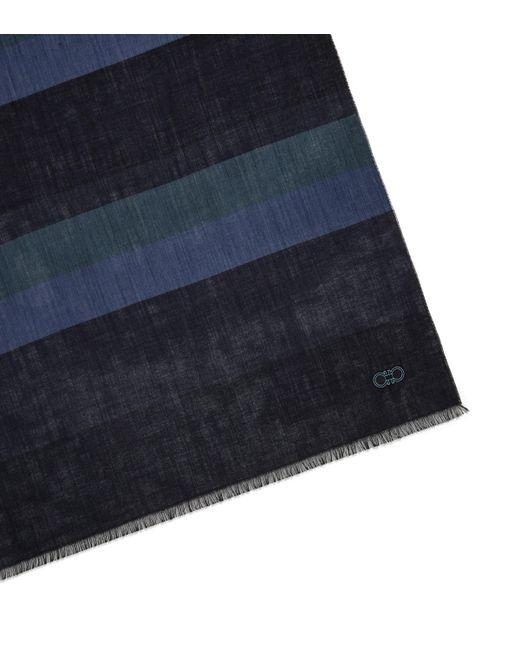 Ferragamo - Blue Large Stripes Gancini Scarf for Men - Lyst