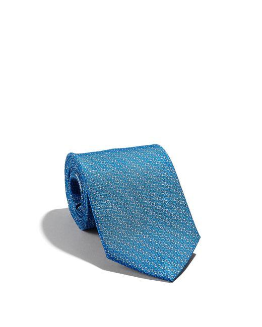 Ferragamo - Blue Gancini Printed Tie for Men - Lyst