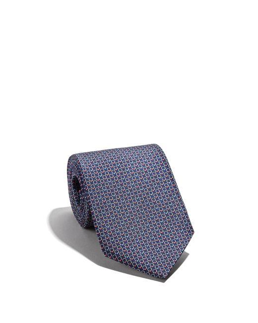 Ferragamo Blue Gancini Printed Tie for men