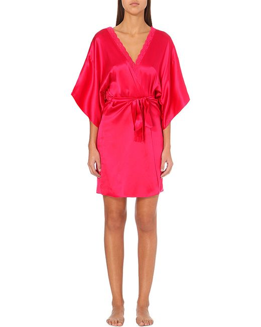 stella mccartney clara whisper silk satin robe in red deep fushia lyst. Black Bedroom Furniture Sets. Home Design Ideas