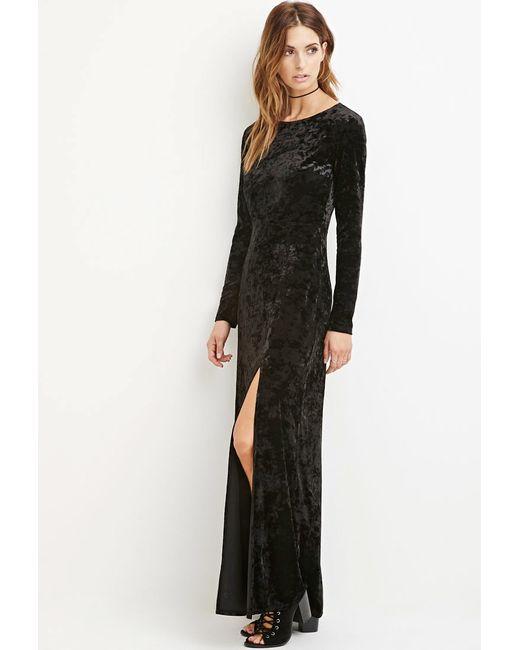 Forever 21 | Black Crushed Velvet Maxi Dress | Lyst