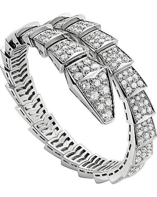 BVLGARI | Serpenti 18ct White-gold And Diamond Bracelet - For Women | Lyst