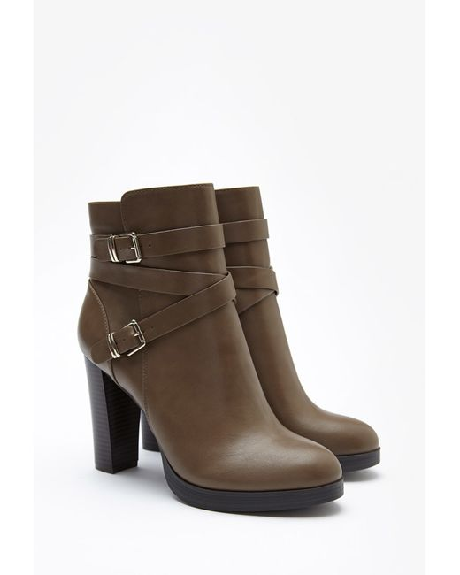 Forever 21   Green Buckled Faux Leather Booties   Lyst