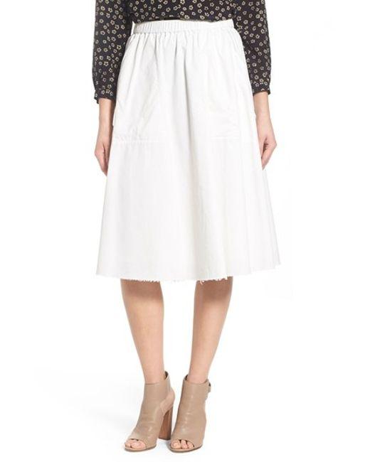 madewell sidewalk cotton midi skirt in white eyelet white