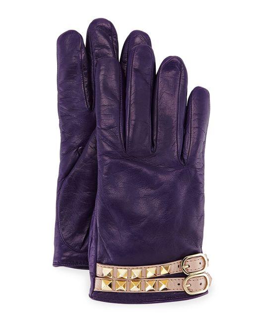 Valentino   Purple Rockstud Napa Leather Gloves   Lyst
