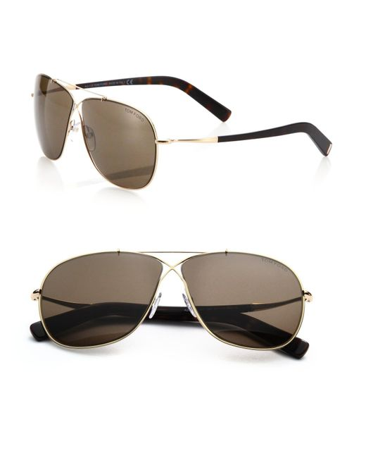Tom Ford | Metallic Criss-cross 61mm Aviator Sunglasses for Men | Lyst